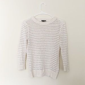 Theory Striped Sheer Cream Sweater
